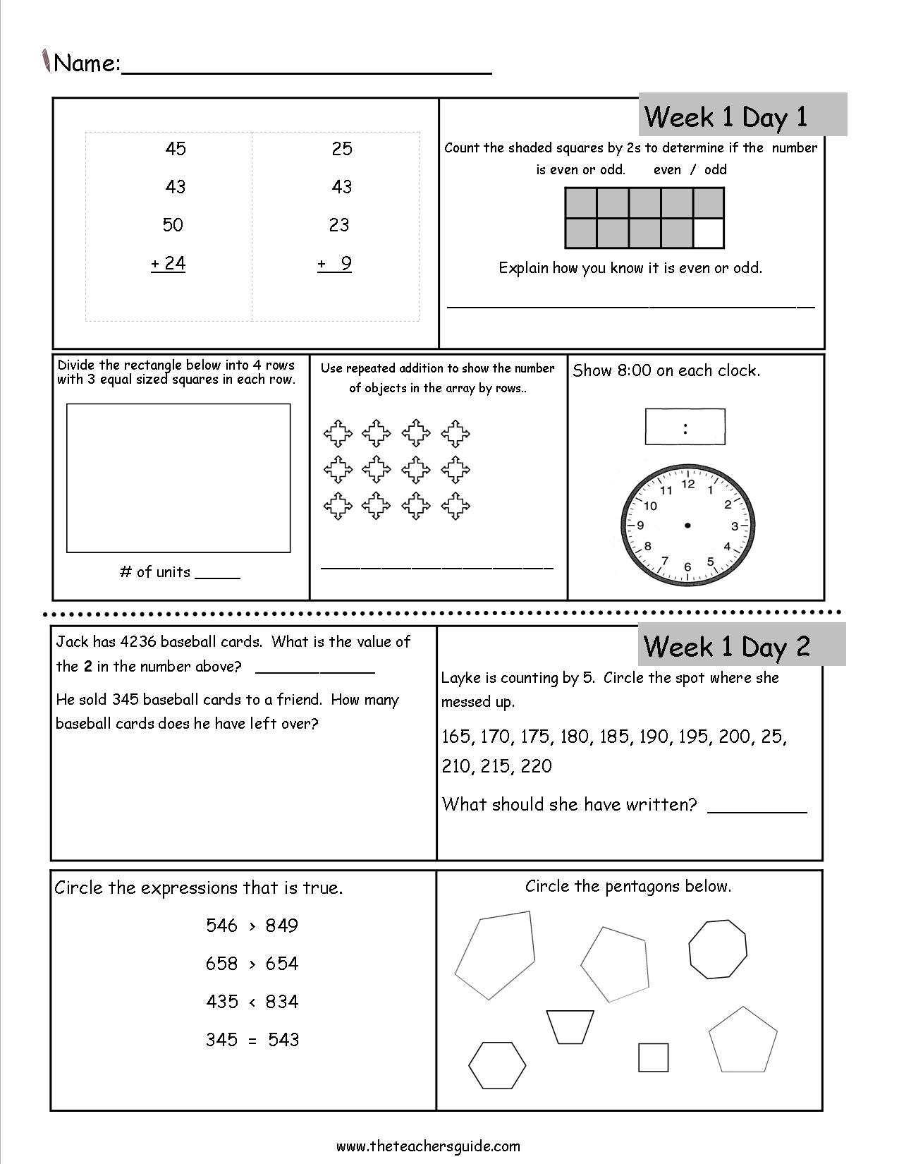Free 3Rd Grade Daily Math Worksheets | Math 4 Today Grade 4 Printable Worksheets