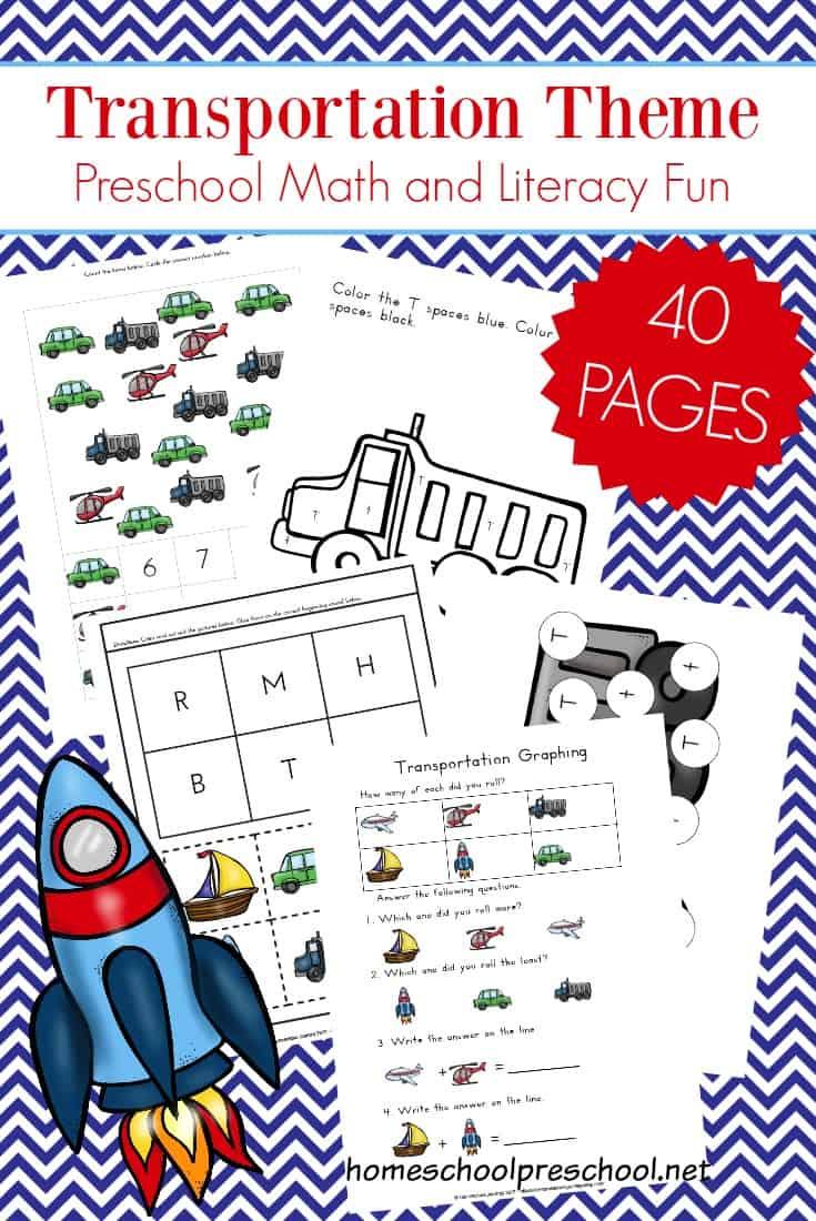 Free 40-Page Preschool Transportation Theme Printables | Free Printable Transportation Worksheets For Kids