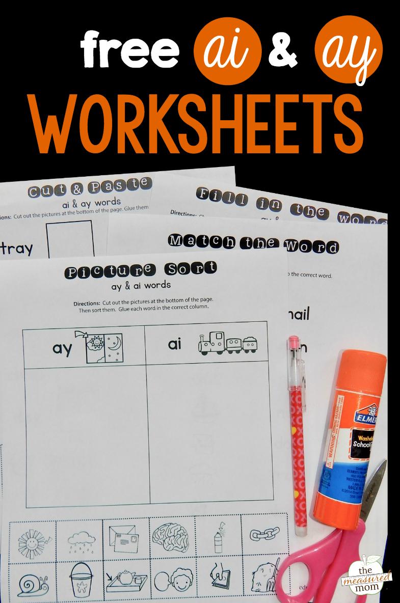 Free Ay & Ai Worksheets - The Measured Mom | Free Printable Ay Word Family Worksheets