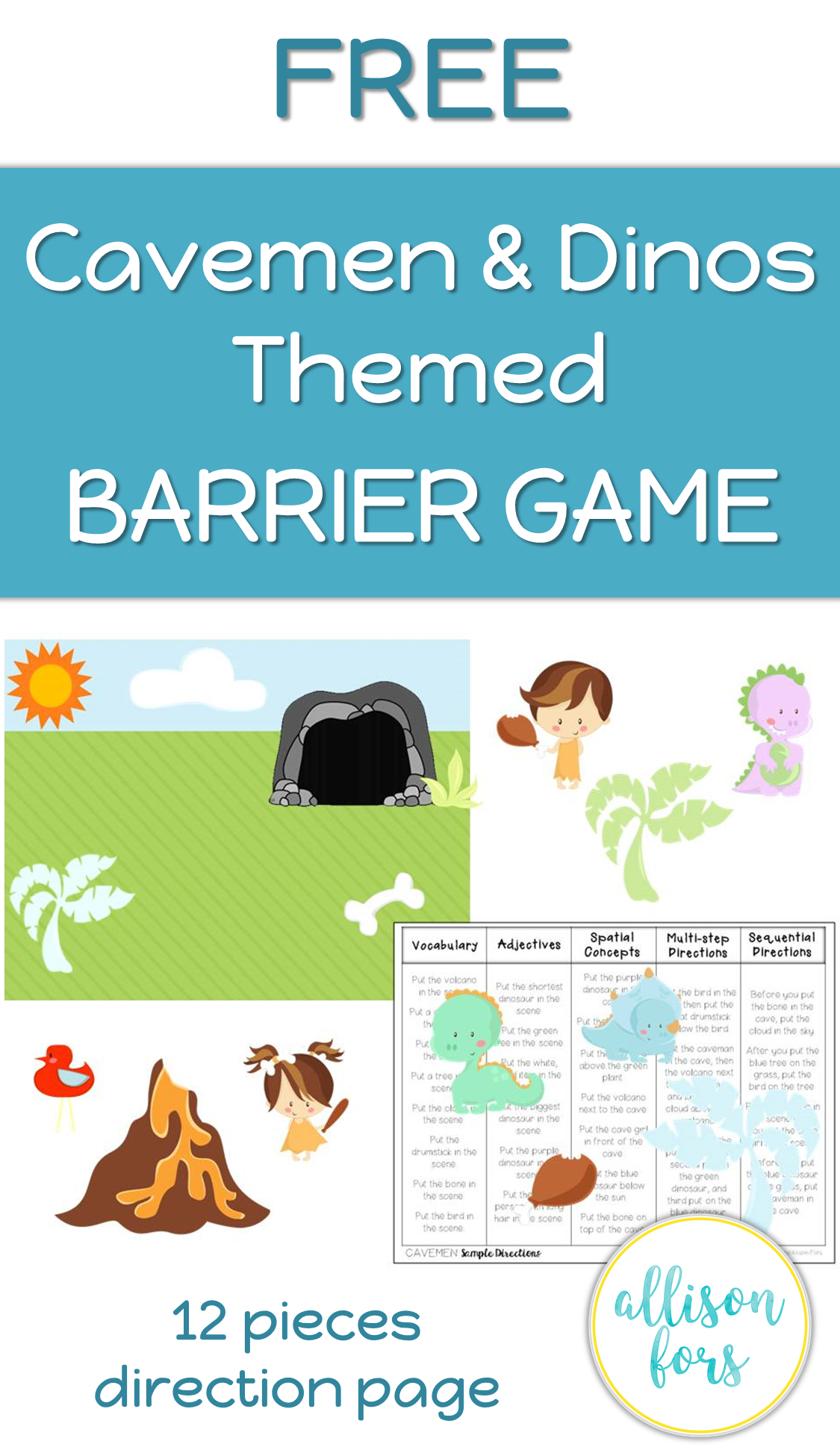 Free Cavemen And Dinos Themed Barrier Game Speech Therapy | Printable Barrier Games Worksheets