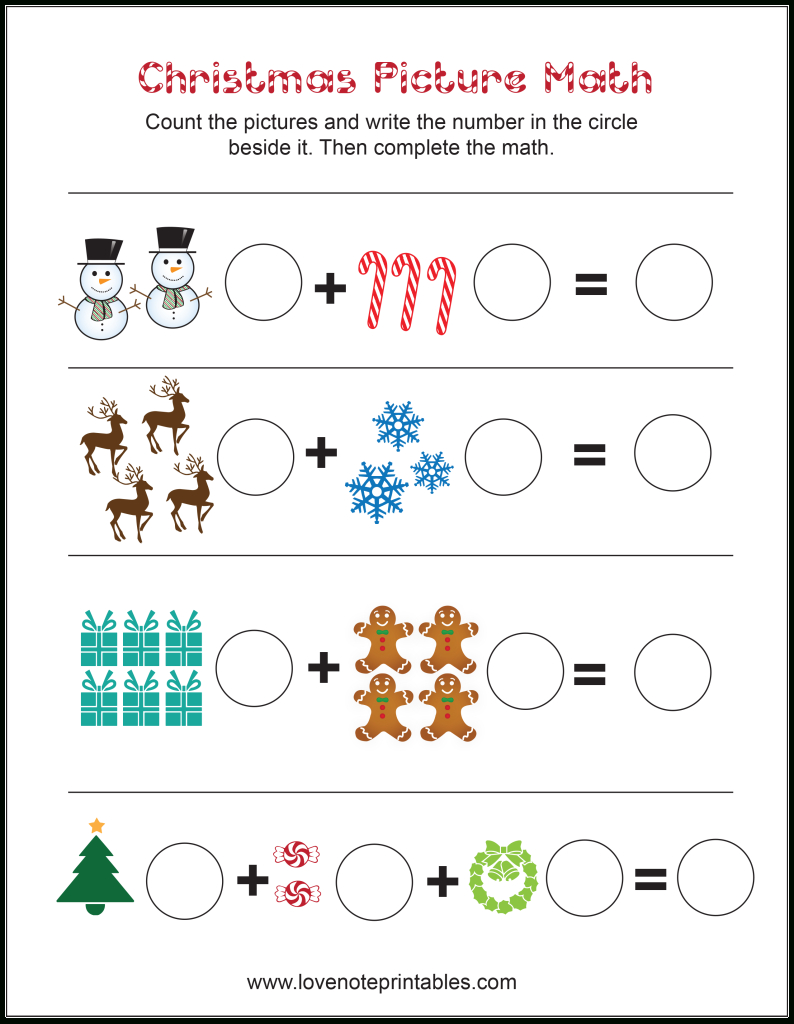 Free Christmas Themed Picture Math Worksheet - Love Note Printables | Free Printable Christmas Math Worksheets Kindergarten