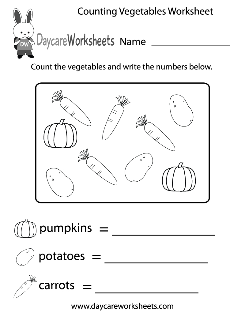 Free Counting Vegetables Worksheet For Preschool | Vegetables Worksheets Printables
