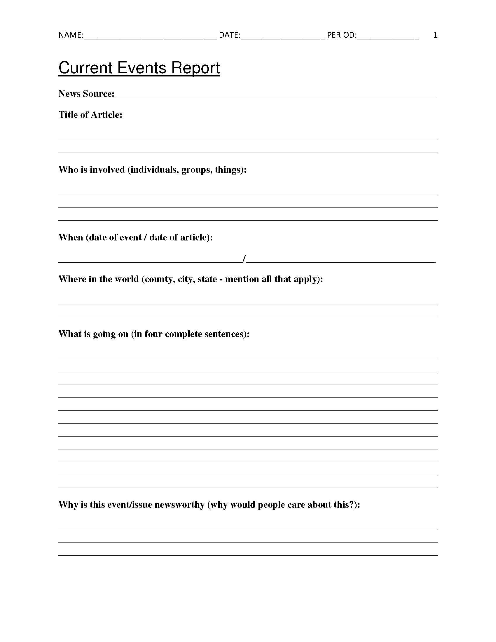 Free Current Events Report Worksheet For Classroom Teachers - Free | Free Printable 8Th Grade Social Studies Worksheets