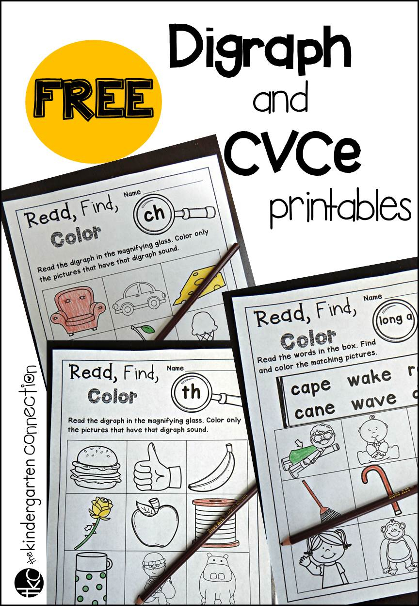 Free Digraph And Cvce Printables - The Kindergarten Connection   Free Printable Digraph Worksheets For First Grade