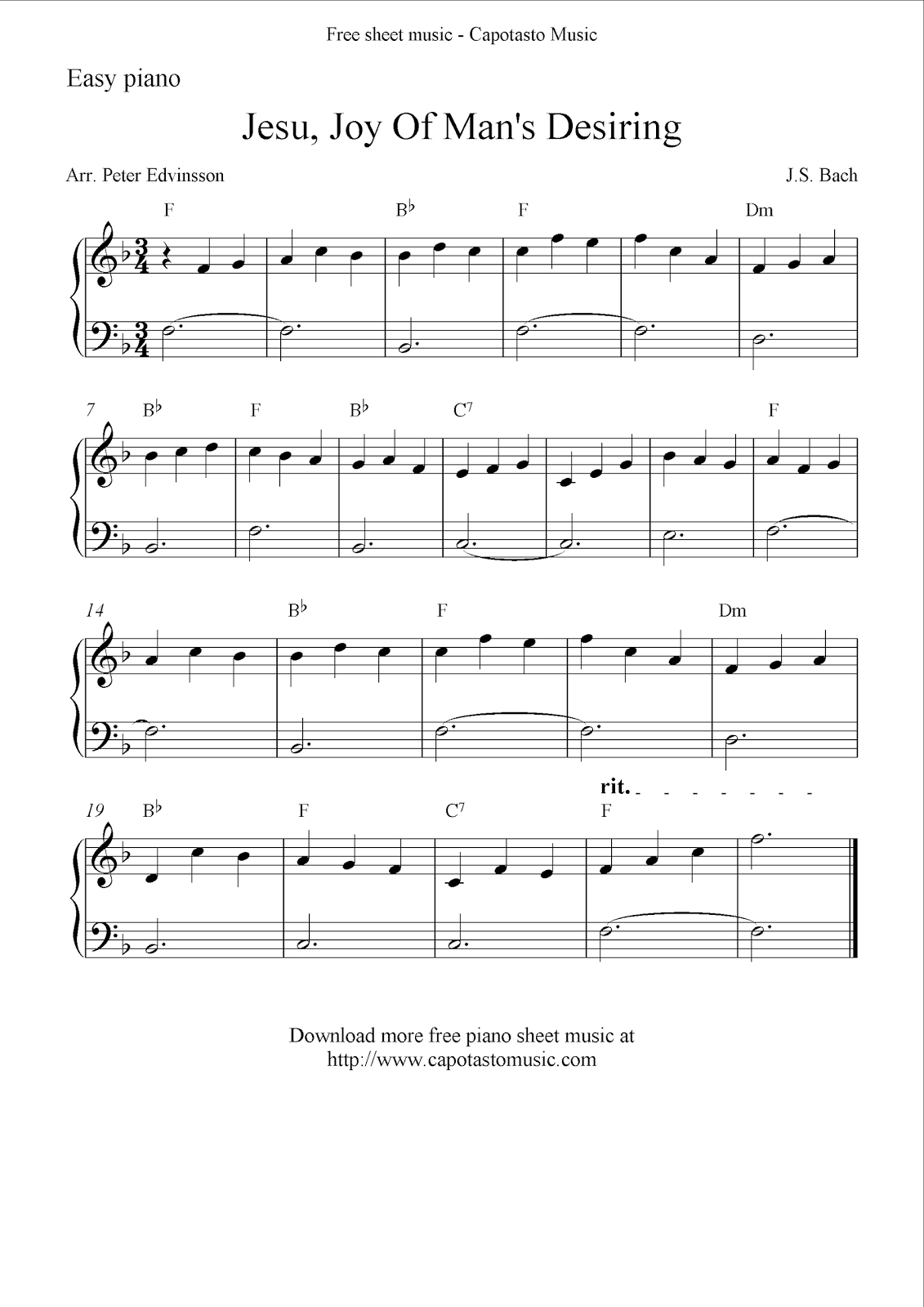 Free Easy Solo For Piano With The Melody Jesu, Joy Of Man's Desiring | Beginner Piano Worksheets Printable Free