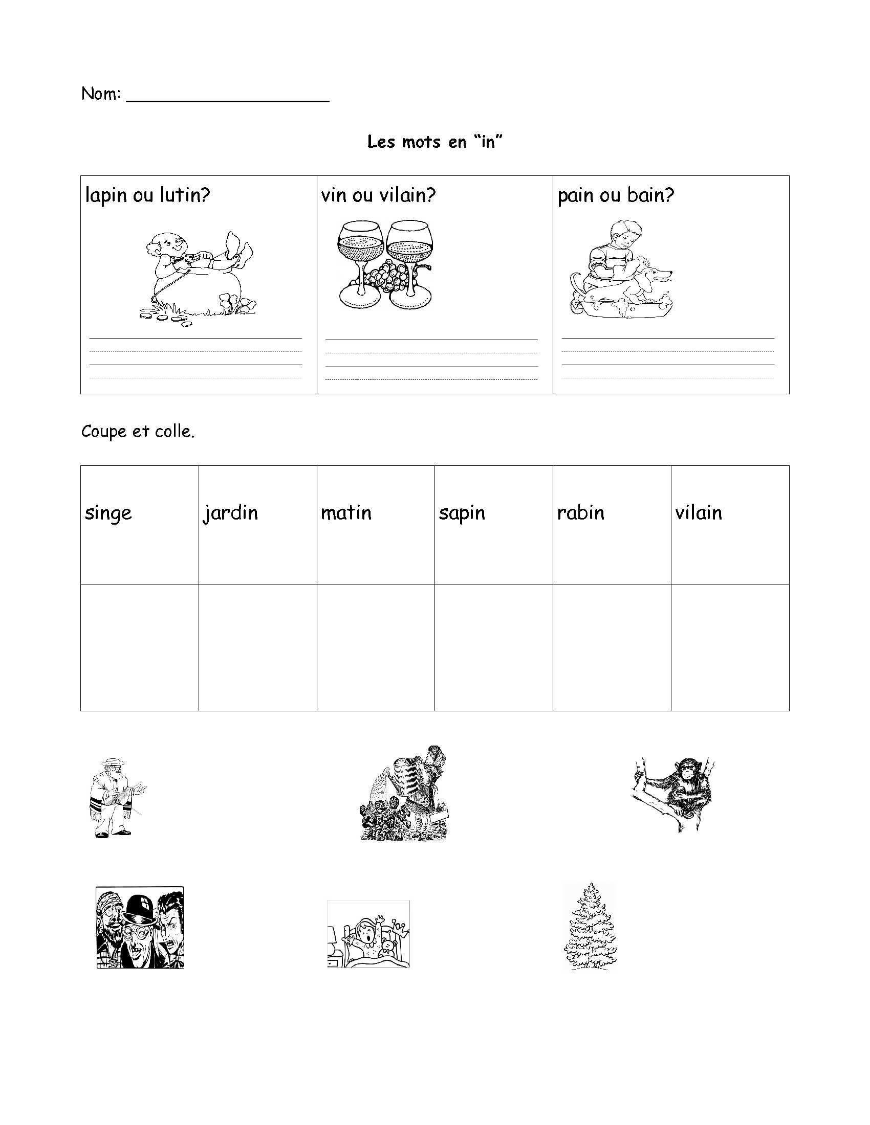 Free French Worksheet- Grade 1, Grade 2, Grade 3. Fsl, Core French   Free Printable French Worksheets For Grade 1