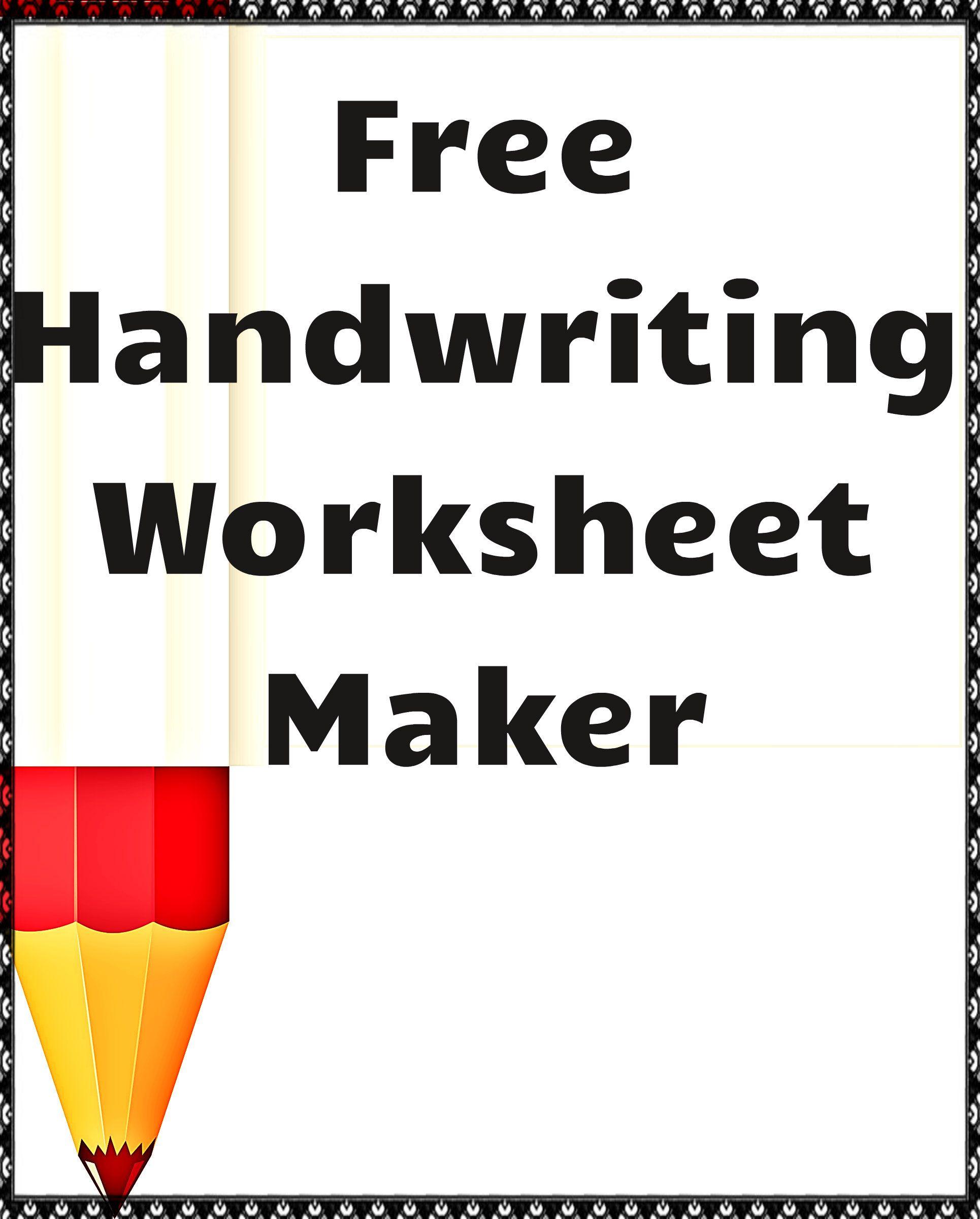 Free Handwriting Worksheet Maker! | Kindergartenklub | Worksheet | Create Cursive Worksheets Printable
