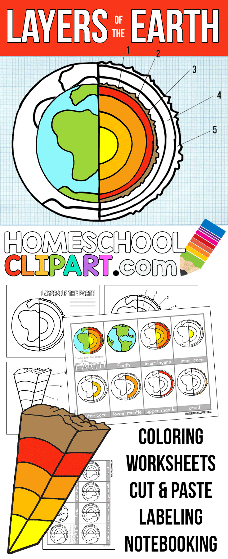 Free Layers Of The Earth Worksheets | Science | Science Notebooks | Earth Printable Worksheets