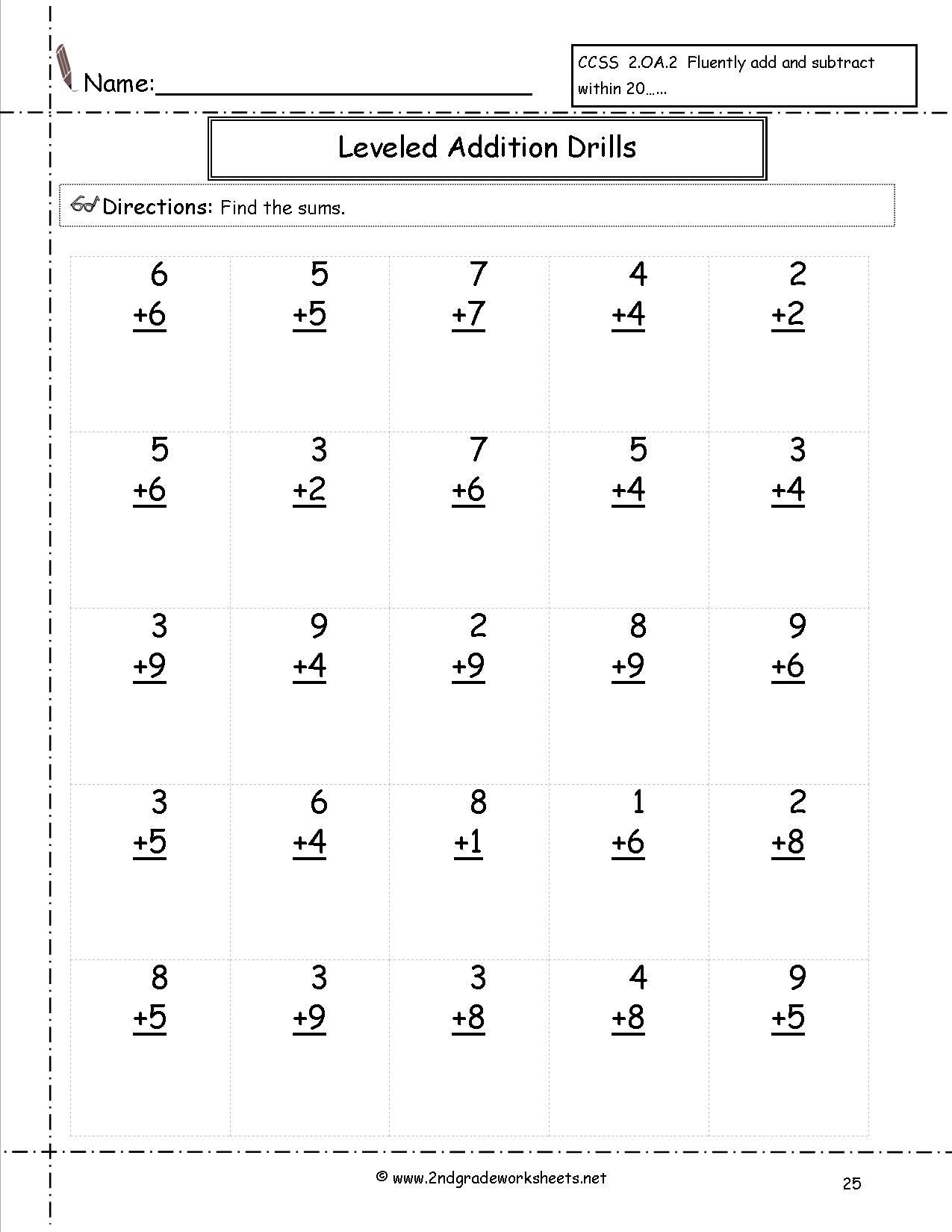 Free Math Worksheets And Printouts | Free Printable Second Grade Math Worksheets
