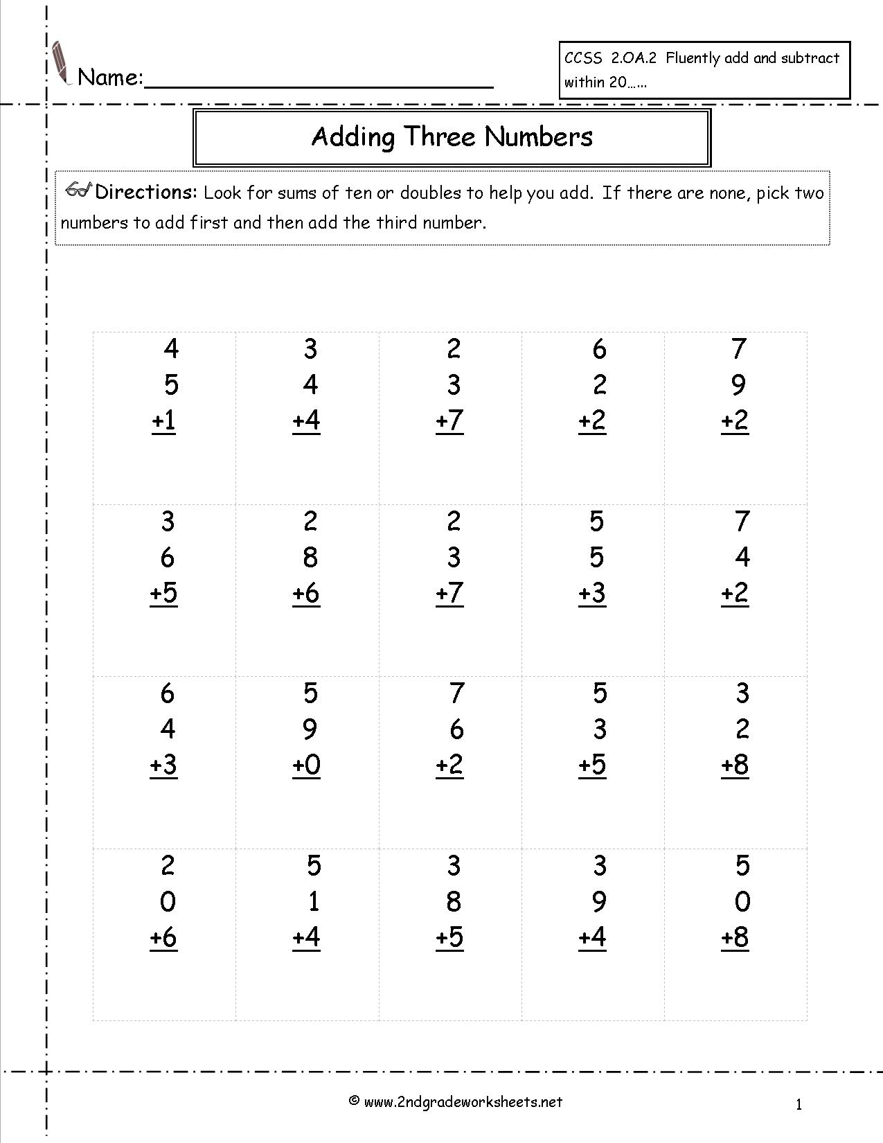 Free Math Worksheets And Printouts   Printable Second Grade Math Worksheets