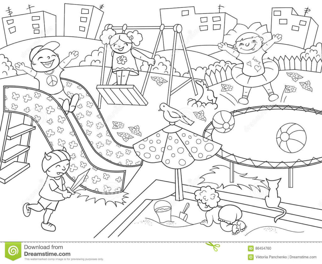 Free Playground Coloring Pages | Free Printable Playground Coloring Worksheets