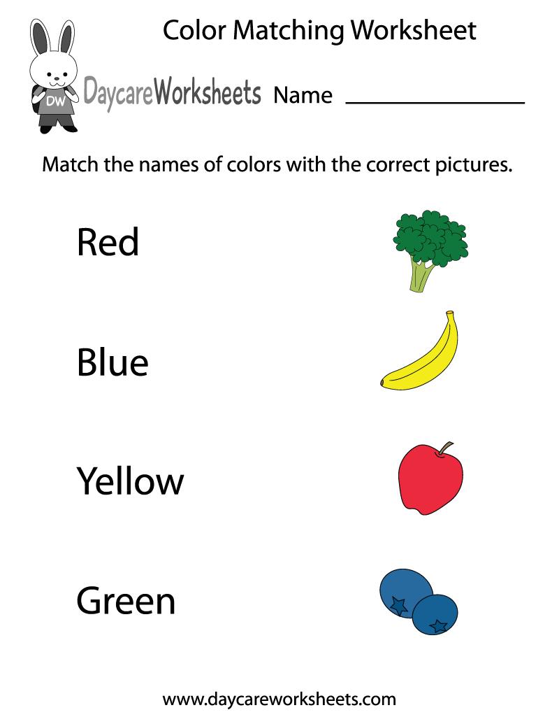 Free Preschool Color Matching Worksheet - Color Recognition | Color Recognition Worksheets Free Printable