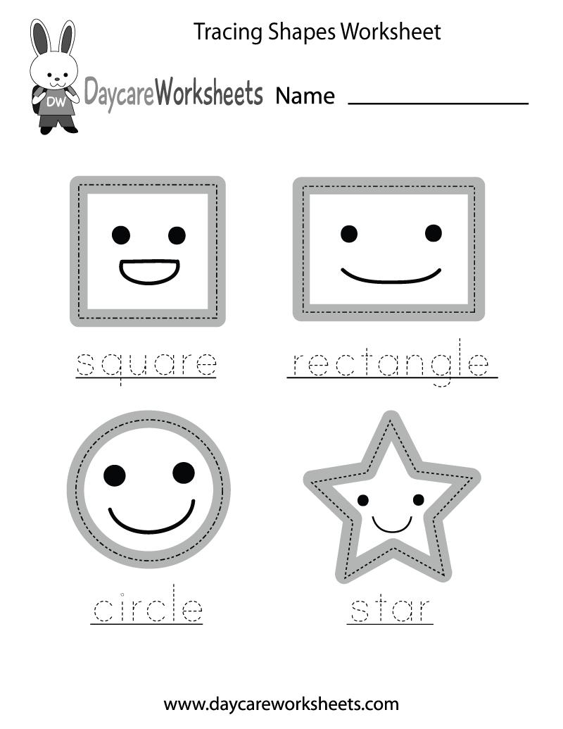 Free Preschool Tracing Shapes Worksheet | Printable Preschool Worksheets Shapes