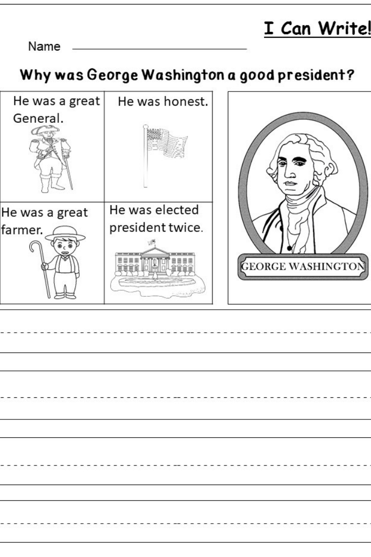 Free President's Day Writing Worksheet | Kindergarten Writing And | George Washington Printable Worksheets