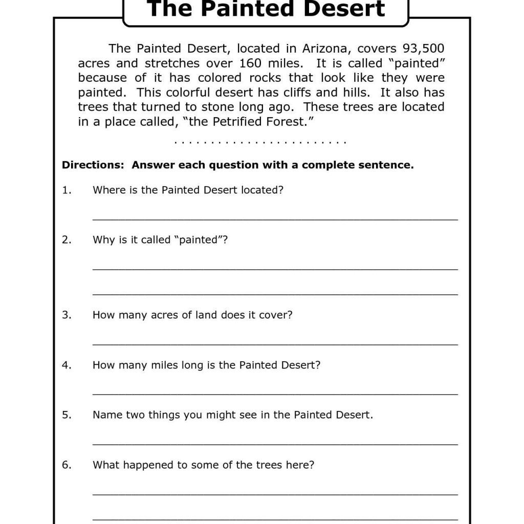 Free Printable 7Th Grade Reading Comprehension Worksheets Grade 3 | Printable Comprehension Worksheets For Grade 6