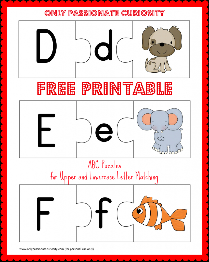 Free Printable Abc Puzzles | School Is Fun | Letter Matching, Upper | Abc Matching Worksheets Printable