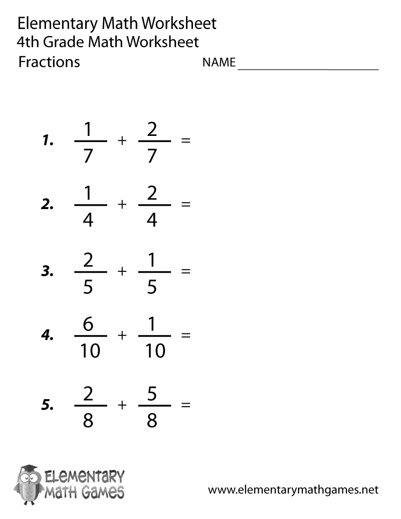 Free Printable Adding Fractions Worksheet For Fourth Grade | Free Printable Adding Fractions Worksheets