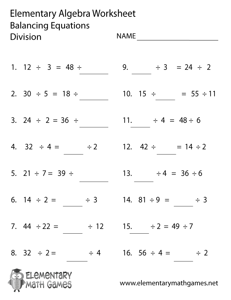 Free Printable Algebra Division Worksheet | Free Printable Division Worksheets