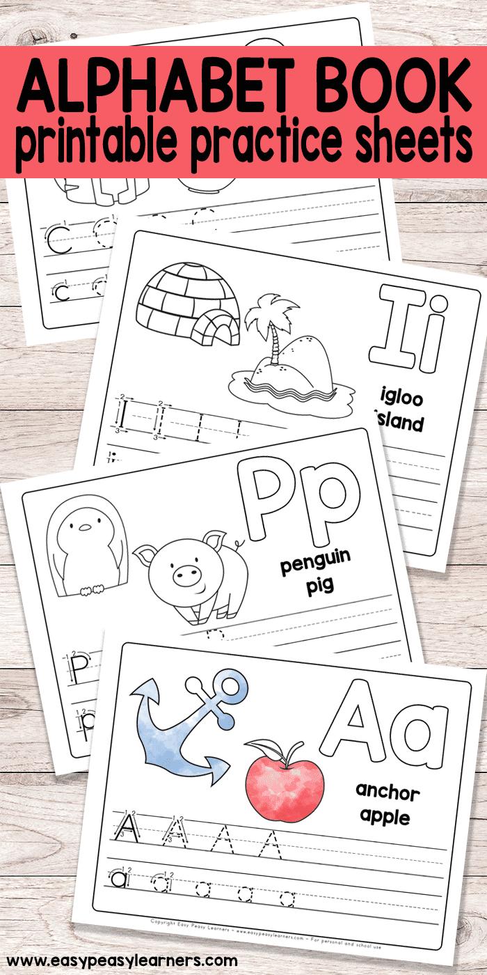 Free Printable Alphabet Book - Alphabet Worksheets For Pre-K And K | Alphabet Practice Worksheets Printable
