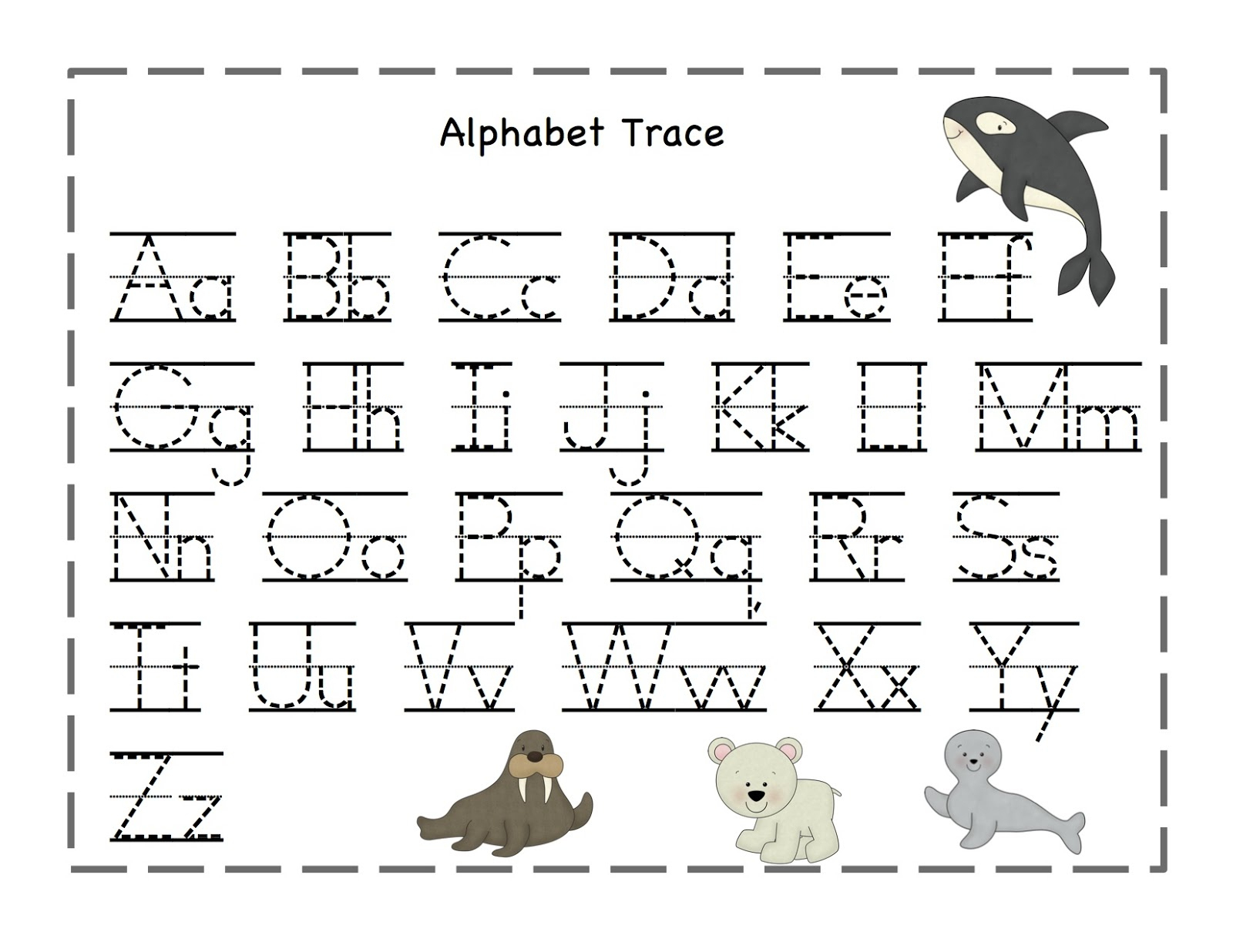 Free Printable Alphabet Tracing Worksheets Number For Kindergarten | Free Printable Alphabet Tracing Worksheets For Kindergarten