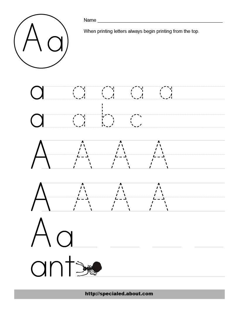 Free Printable Alphabet Worksheets – With For Kindergarten Also | Manuscript Printable Worksheets