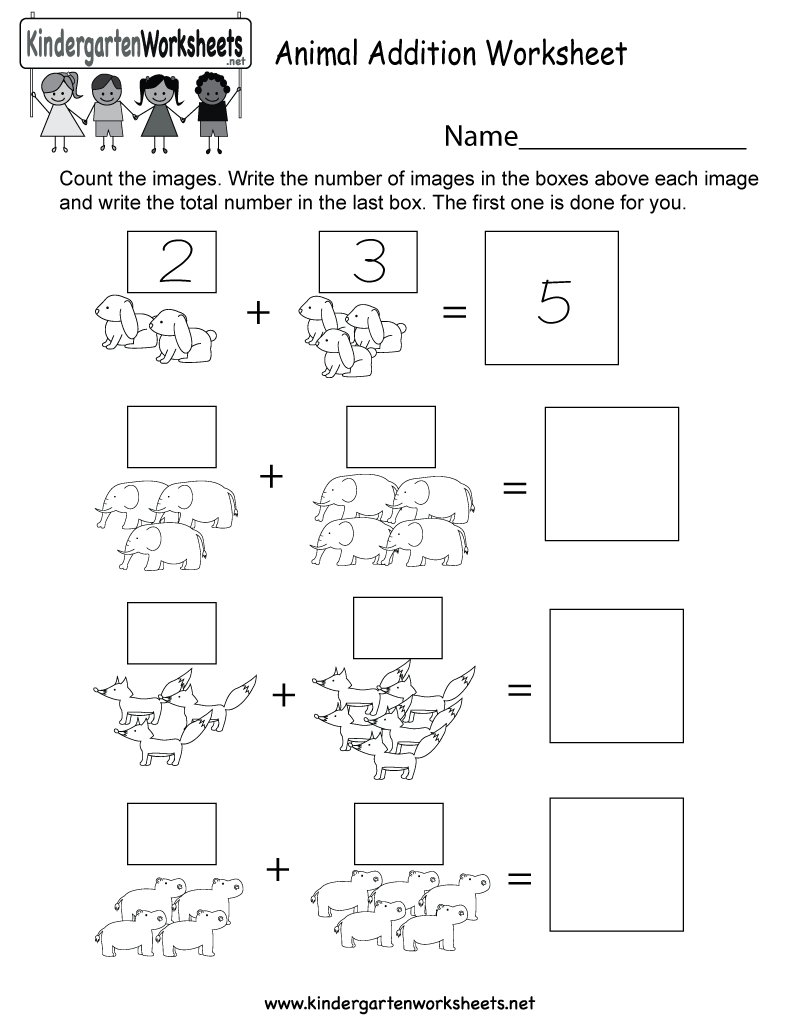 Free Printable Animal Addition Worksheet For Kindergarten | Free Printable Pet Worksheets