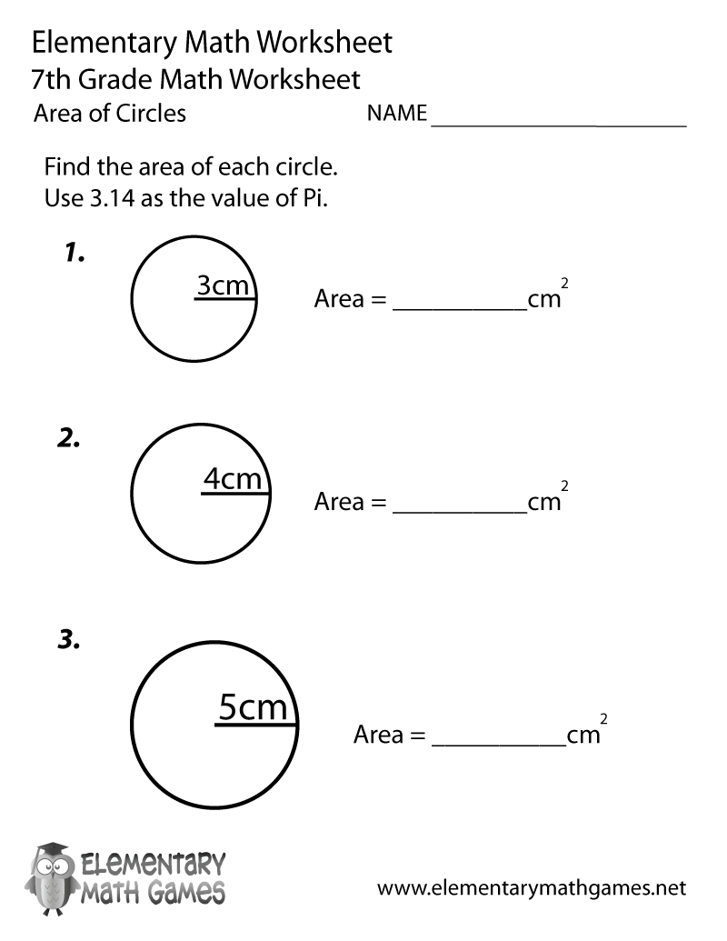 Free Printable Area Of Circles Worksheet For Seventh Grade | Free Printable 7Th Grade Math Worksheets