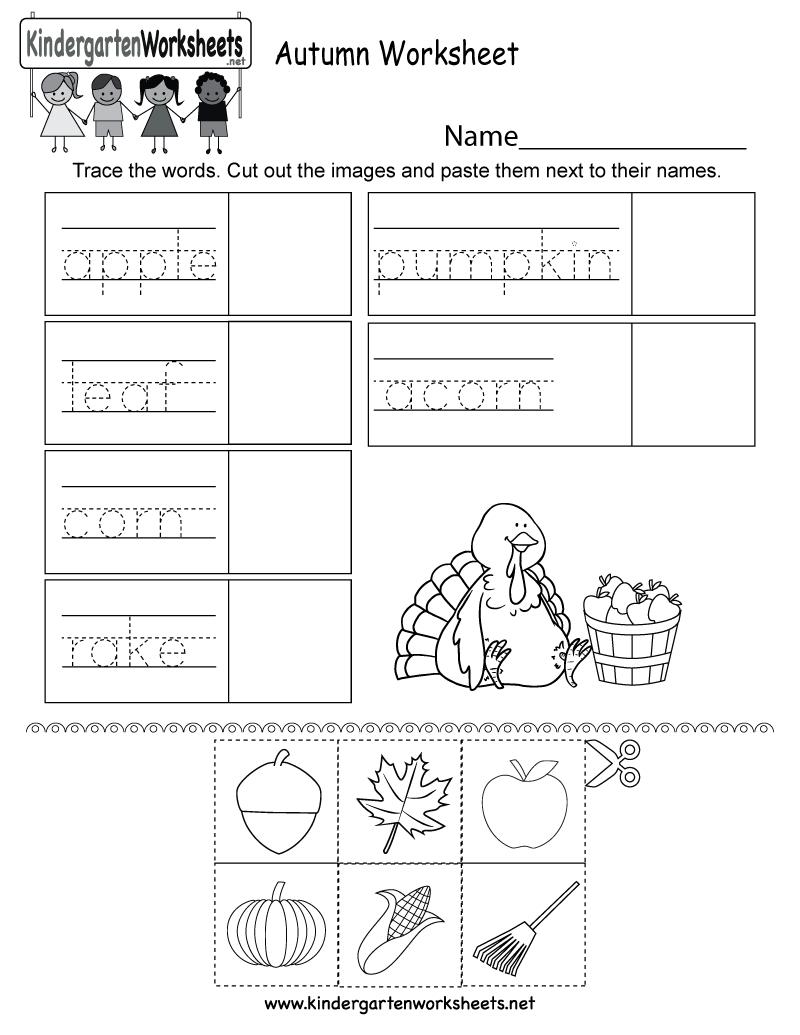 Free Printable Autumn Worksheet For Kindergarten | Free Printable Leaf Worksheets