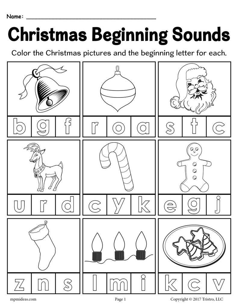 Free Printable Christmas Beginning Sounds Worksheet | Christmas | Printable Beginning Sounds Worksheets
