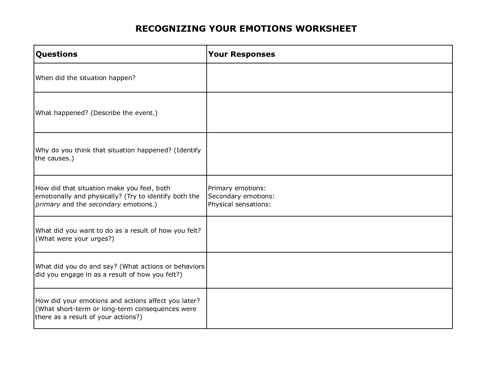 Free Printable Dbt Worksheets | Recognizing Your Emotions Worksheet | Free Printable Therapy Worksheets