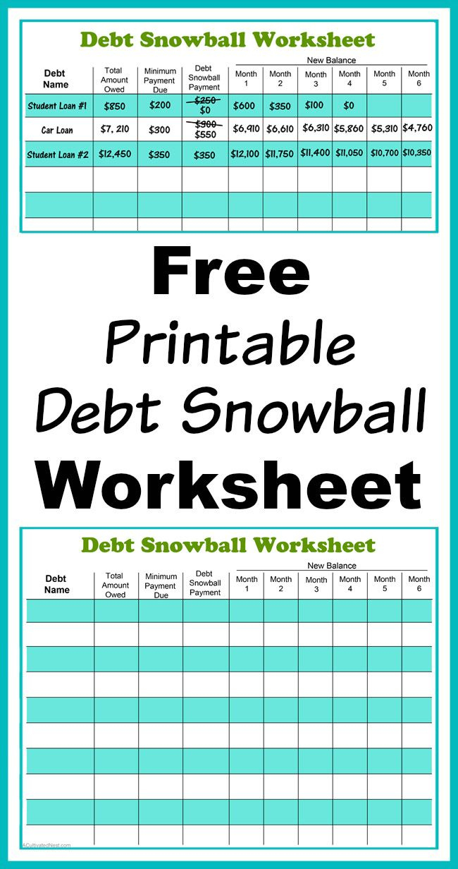 Free Printable Debt Snowball Worksheet | Living Frugally - Money | Free Printable Debt Snowball Worksheet