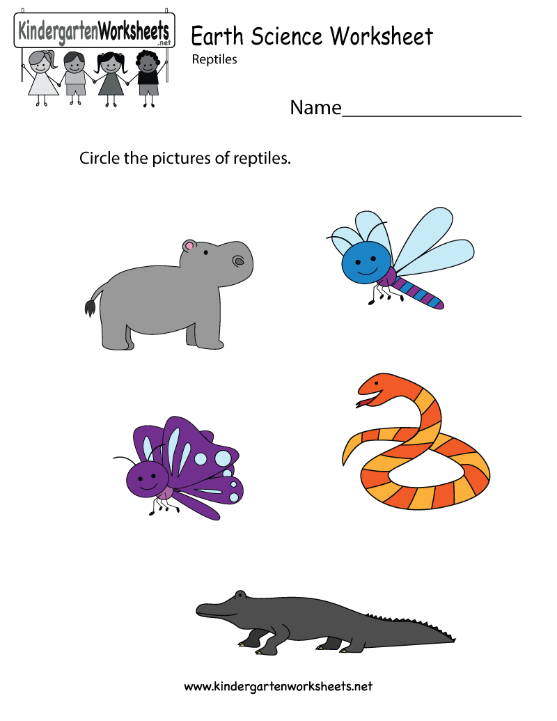 Free Printable Earth Science Worksheet For Kindergarten | Free Printable Reptile Worksheets