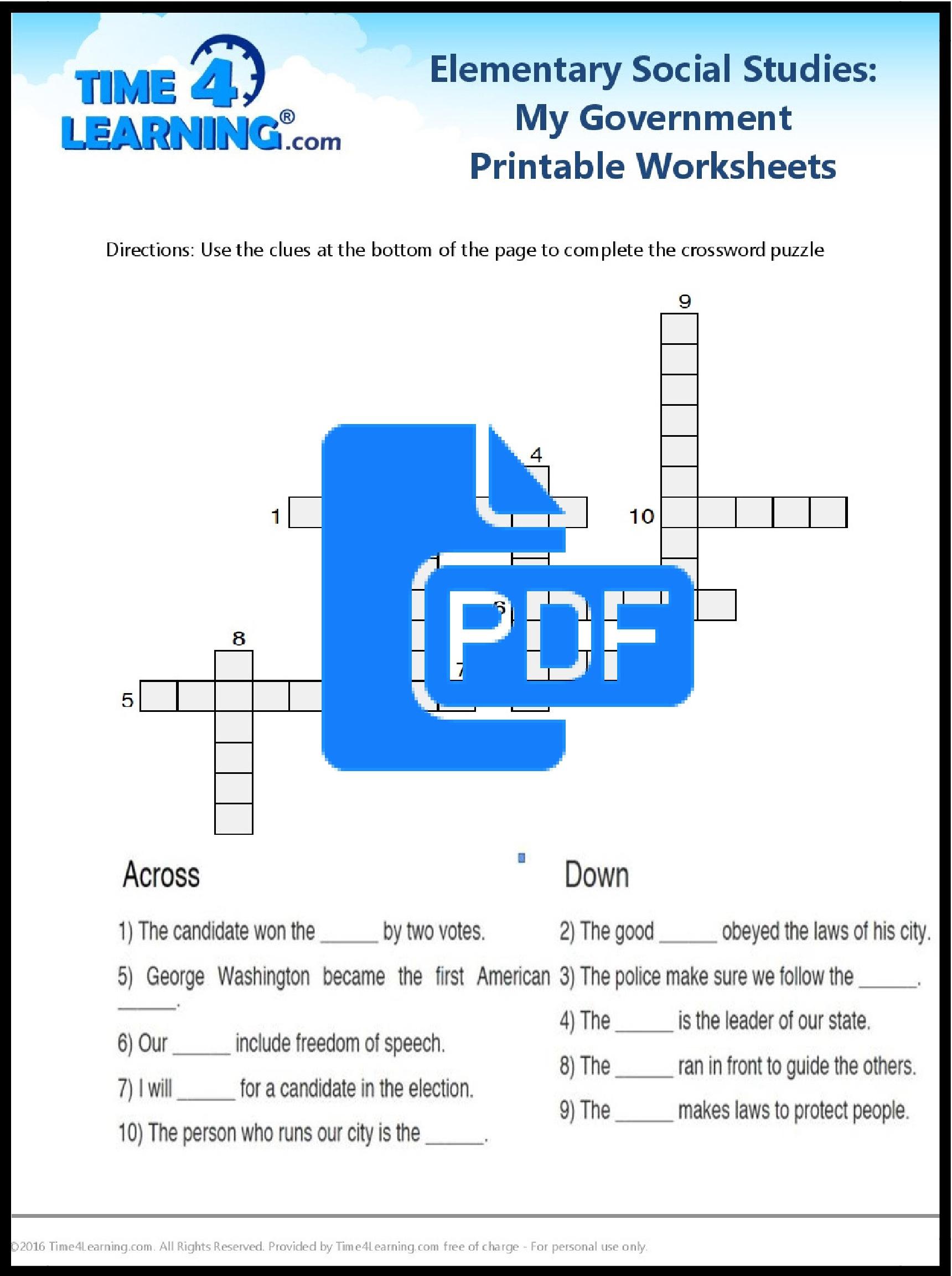 Free Printable: Elementary Social Studies Worksheet | Time4Learning | Printable Social Studies Worksheets 8Th Grade