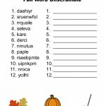 Free Printable   Fall Word Unscramble | Games For Senior Adults | Free Printable Word Scramble Worksheets