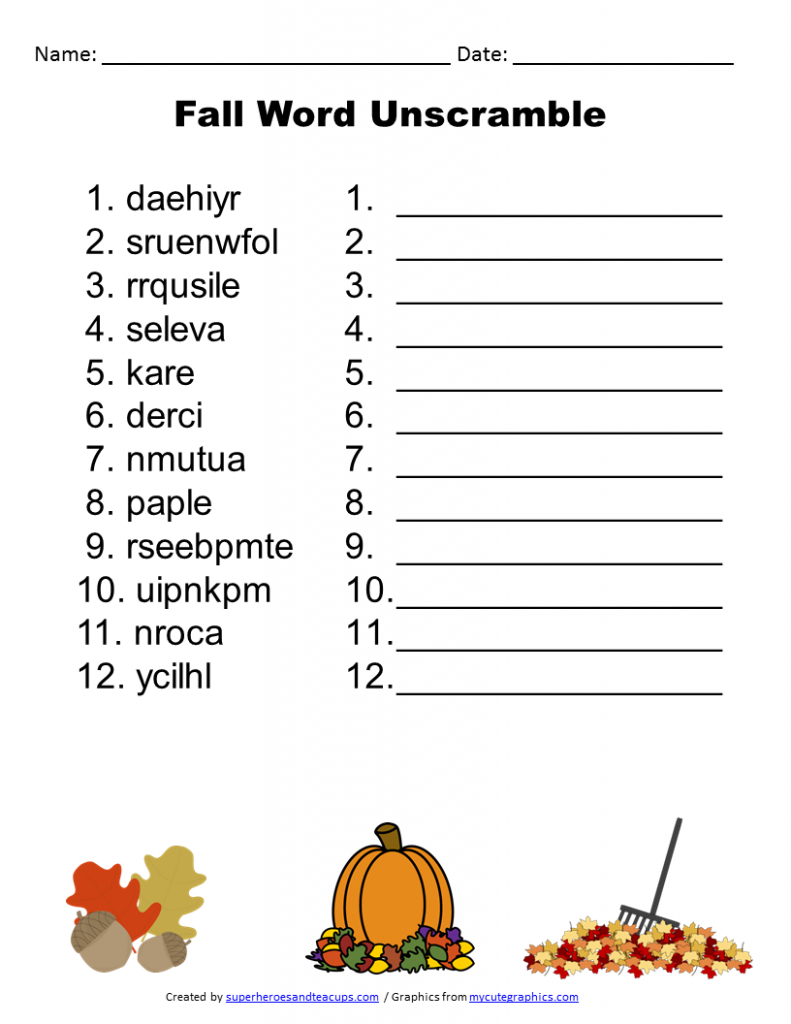 Free Printable - Fall Word Unscramble | Games For Senior Adults | Free Printable Word Scramble Worksheets