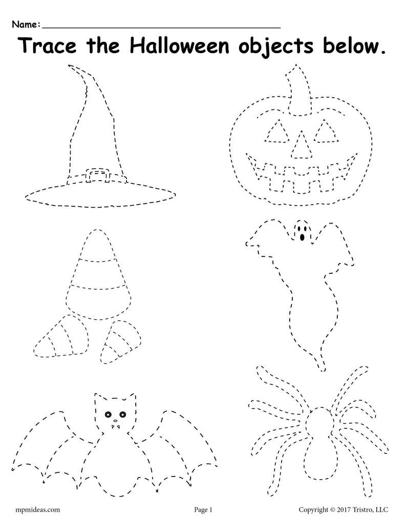 Free Printable Halloween Tracing Worksheet | Halloween | Halloween | Preschool Halloween Worksheets Printables