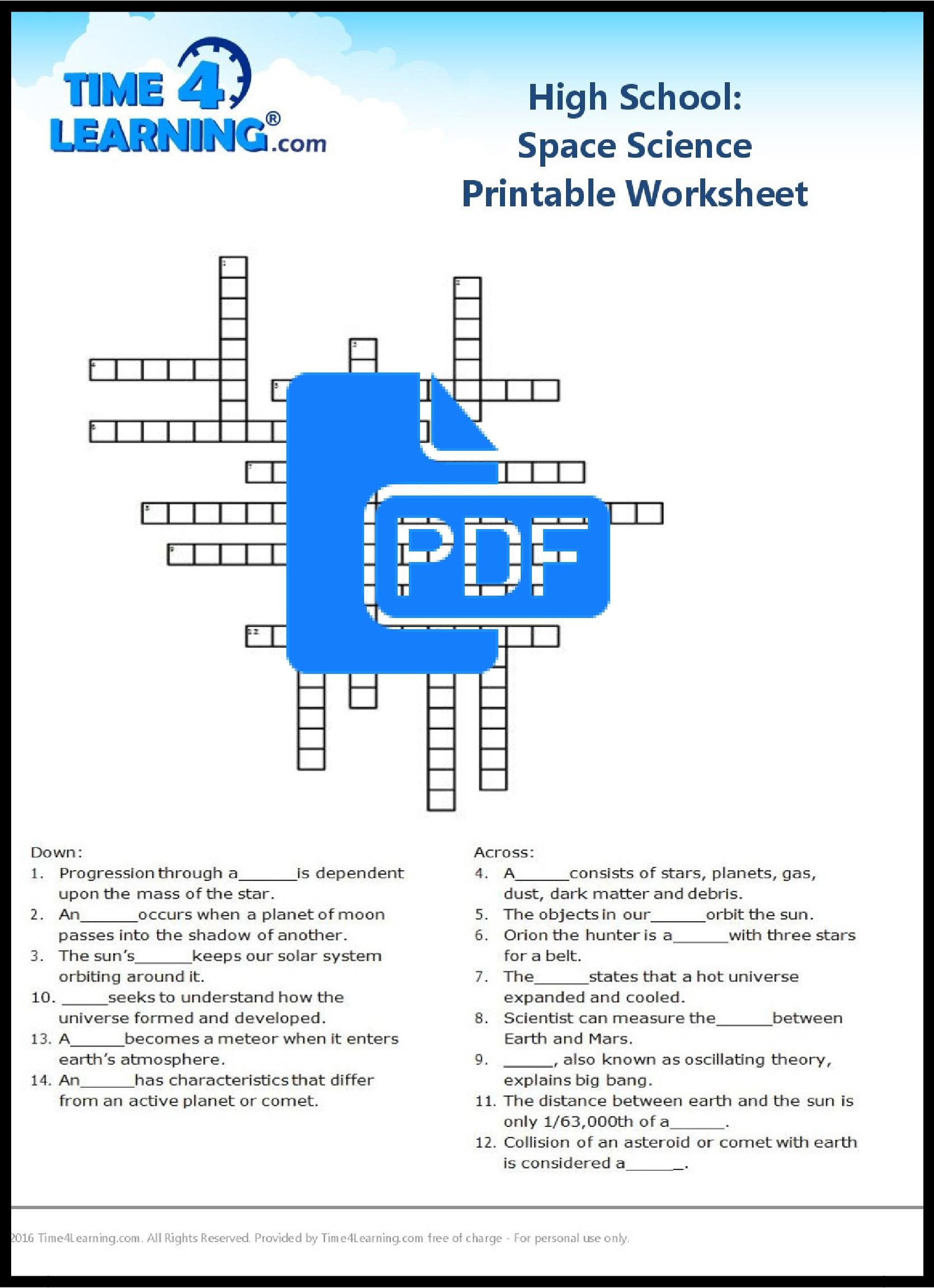 Free Printable: High School Space Science Worksheet   Time4Learning   Printable Science Worksheets