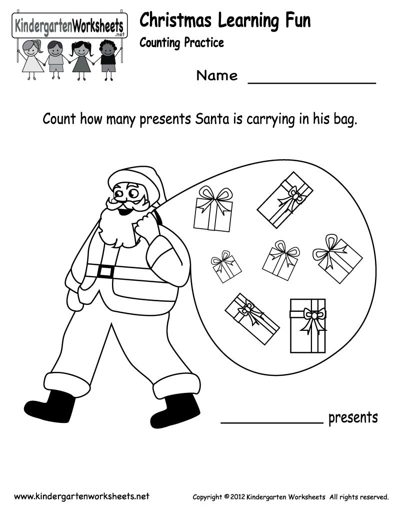 Free Printable Holiday Worksheets   Kindergarten Santa Counting   Free Printable Holiday Worksheets