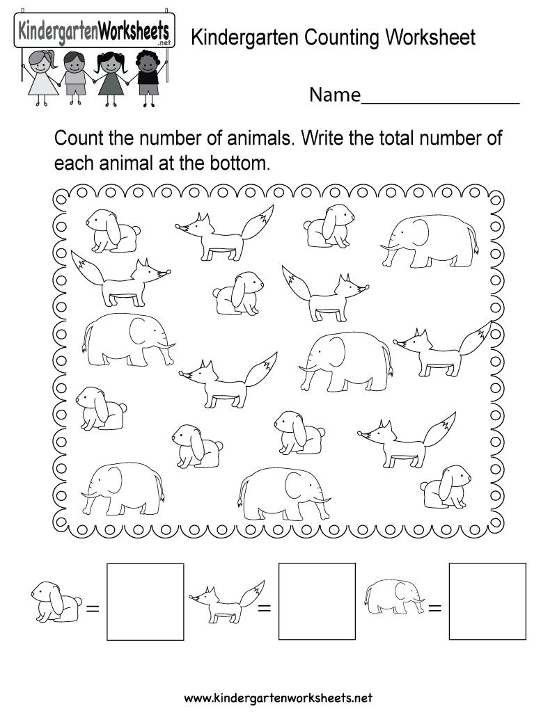 Free Printable Kindergarten Counting Worksheet   Counting Printable Worksheets For Kindergarten