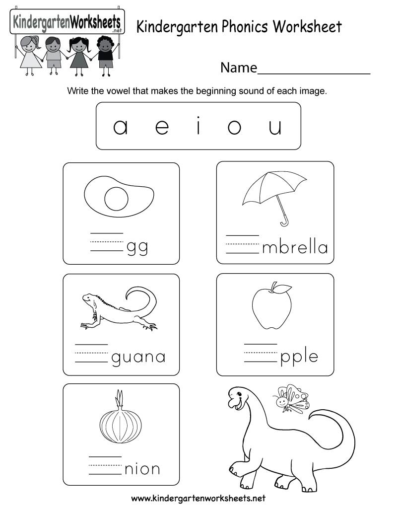 Free Printable Kindergarten Phonics Worksheet | Kindergarten Worksheets Free Printables Phonics