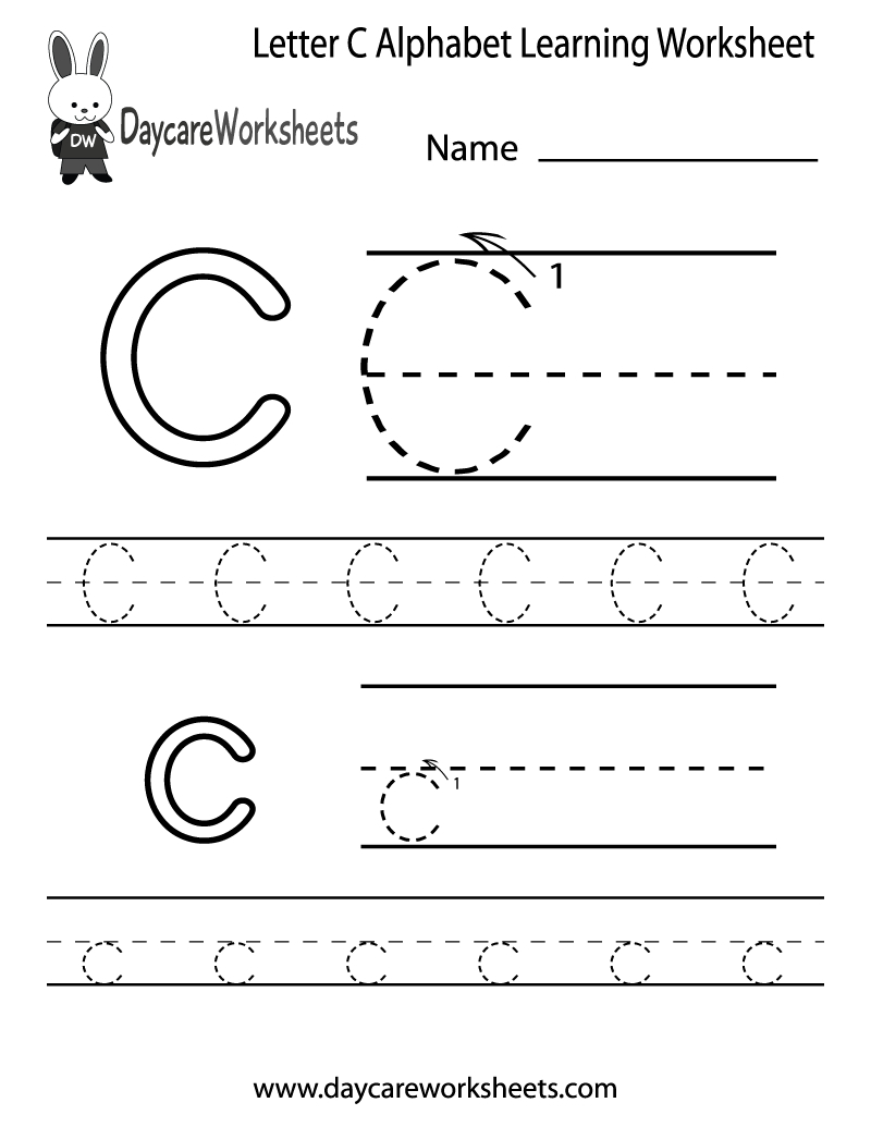Free Printable Letter C Alphabet Learning Worksheet For Preschool | Free Printable Preschool Worksheets Letter C