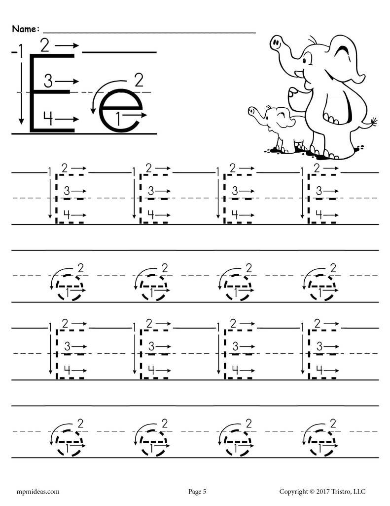 Free Printable Letter E Tracing Worksheet With Number And Arrow | Printable Letter E Worksheets For Preschool