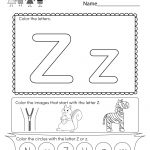 Free Printable Letter Z Coloring Worksheet For Kindergarten   Letter | Letter Z Worksheets Free Printable