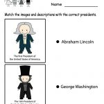 Free Printable Match The Presidents Worksheet For Kindergarten | Free Printable President Worksheets