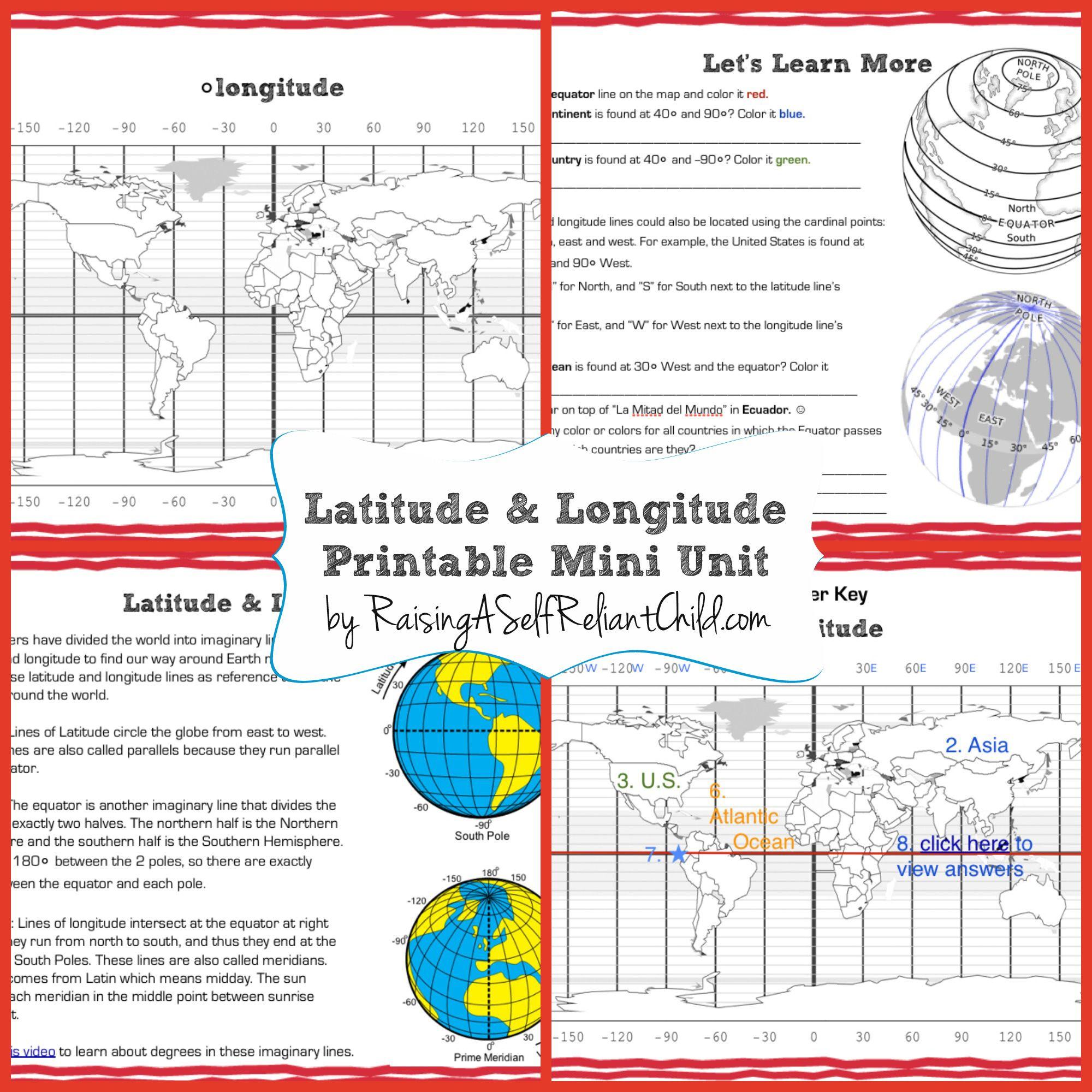 Free Printable Mini Unit Latitude And Longitude For Kids | The | Latitude And Longitude Worksheets Free Printable
