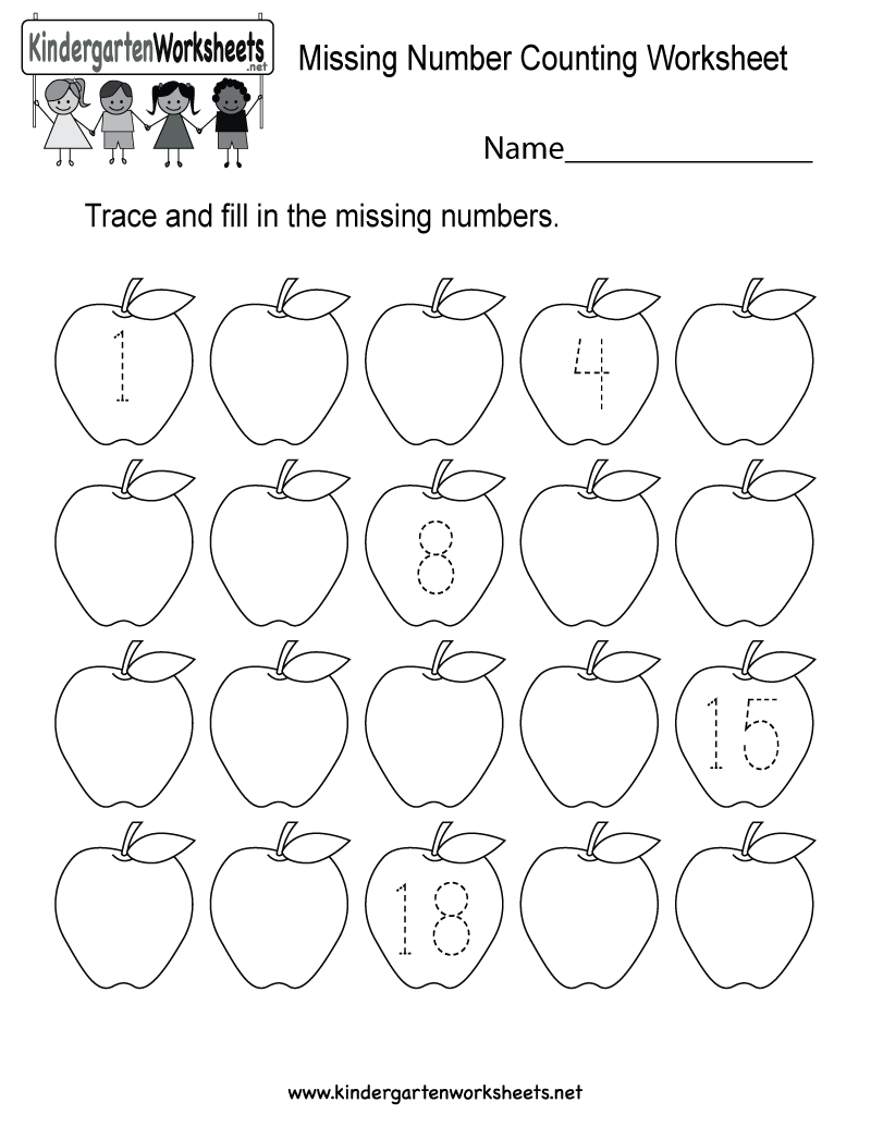 Free Printable Missing Number Counting Worksheet For Kindergarten | Free Printable Missing Number Worksheets