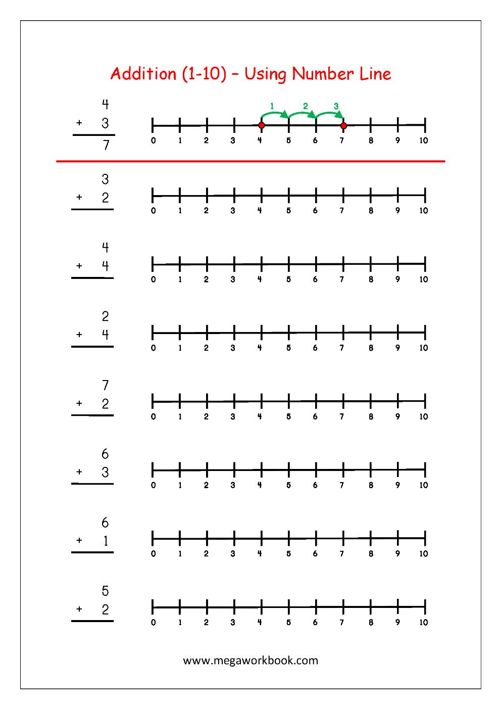 Free Printable Number Addition Worksheets (1-10) For Kindergarten   Free Printable Math Worksheets For Grade 1