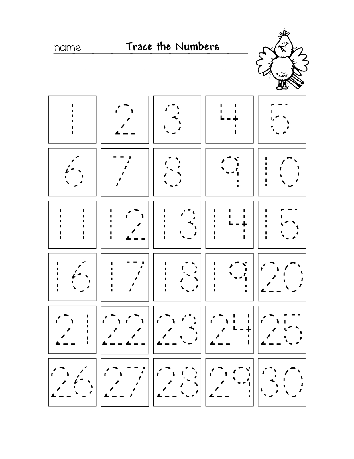 Free Printable Number Chart 1-30 | Kinder | Kindergarten Worksheets | Printable Number Tracing Worksheets
