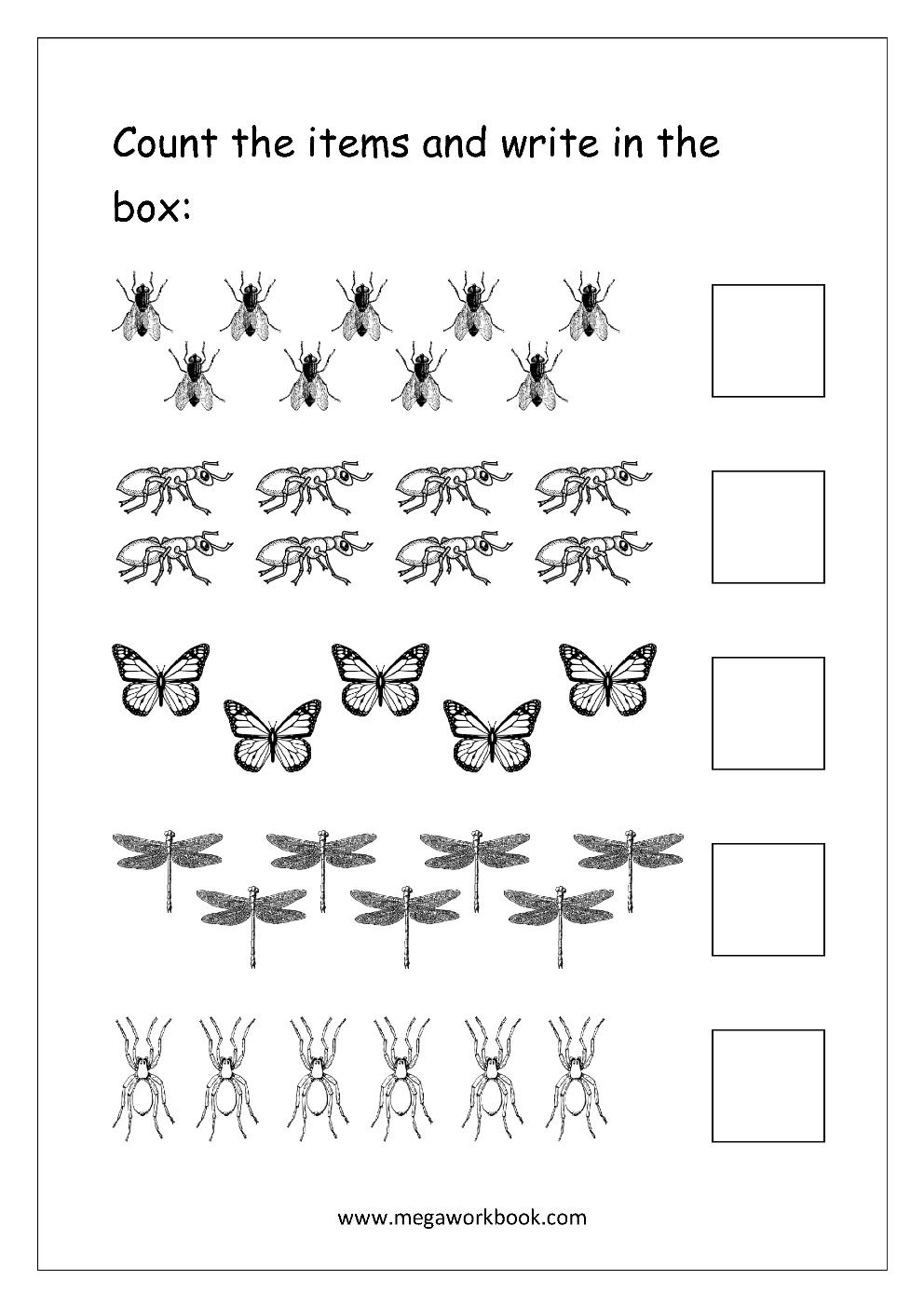 Free Printable Number Counting Worksheets - Count And Match - Count | Free Printable Counting Worksheets 1 20