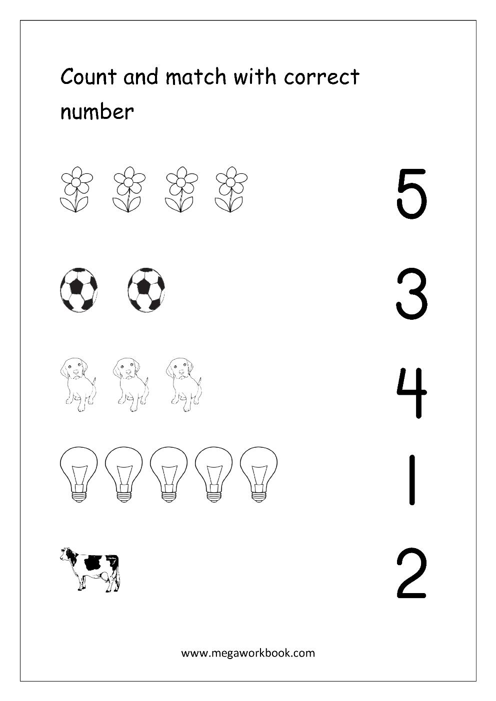 Free Printable Number Matching Worksheets For Kindergarten And | Free Printable Number Worksheets For Kindergarten